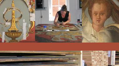 """Konservering og restaurering af 66 bemalede loftsfelter fra den oprindelige """"Røde Sal"""""""