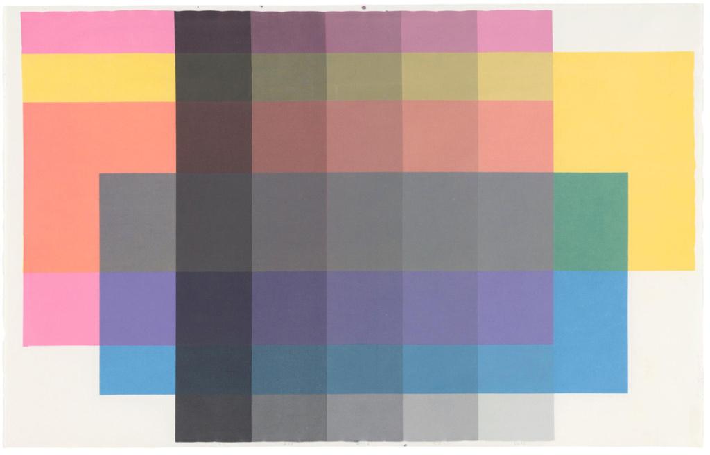 Louises farveanalyse fra 2010 med de tre primærfarver og sort i varierende lyshedstrin.