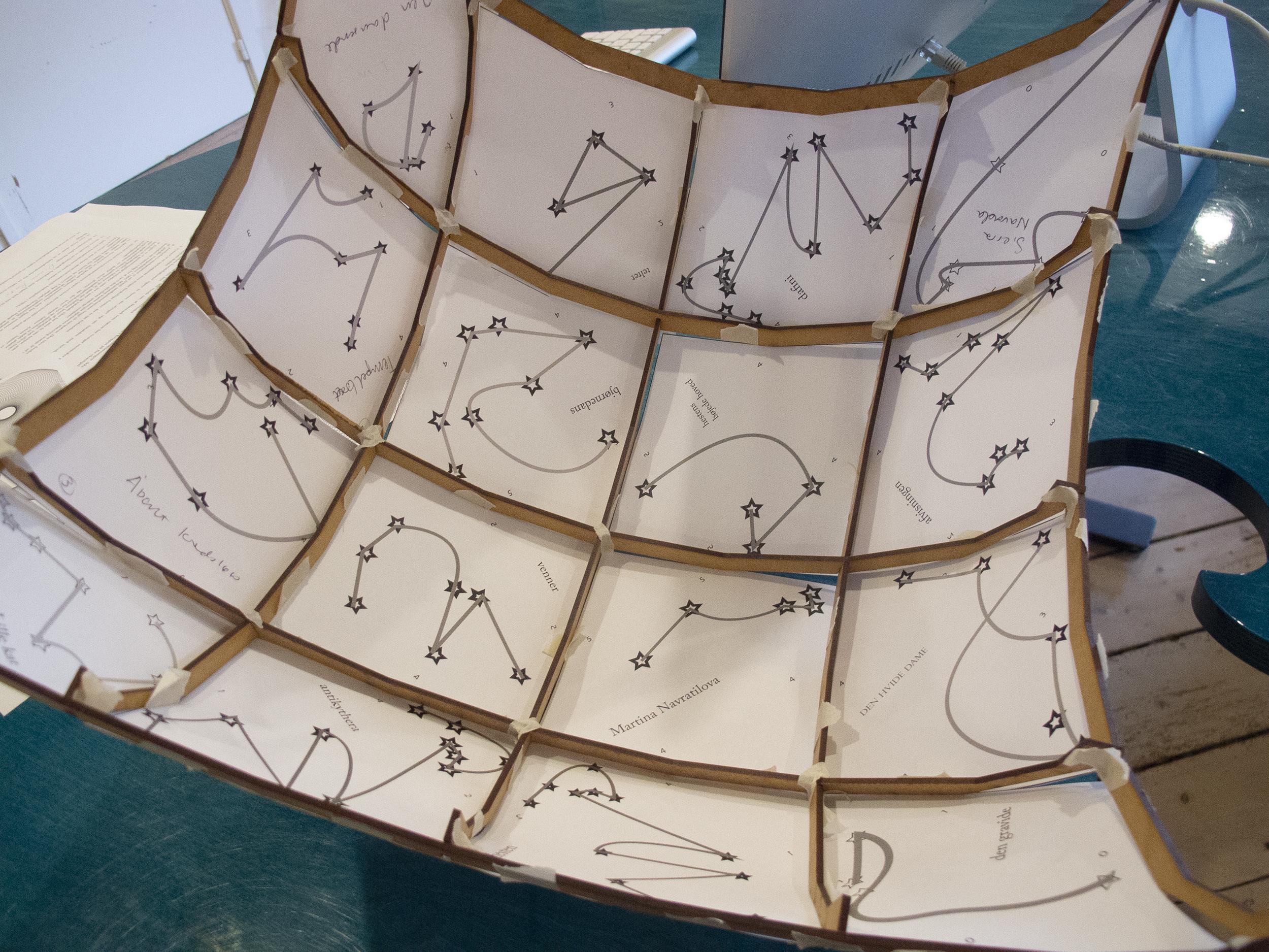 Indersiden af pavillonsejlet med skitse til stjernebilleder