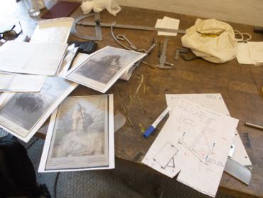 Fotoramme, arbejdstegning og testprint af fotografiske værker