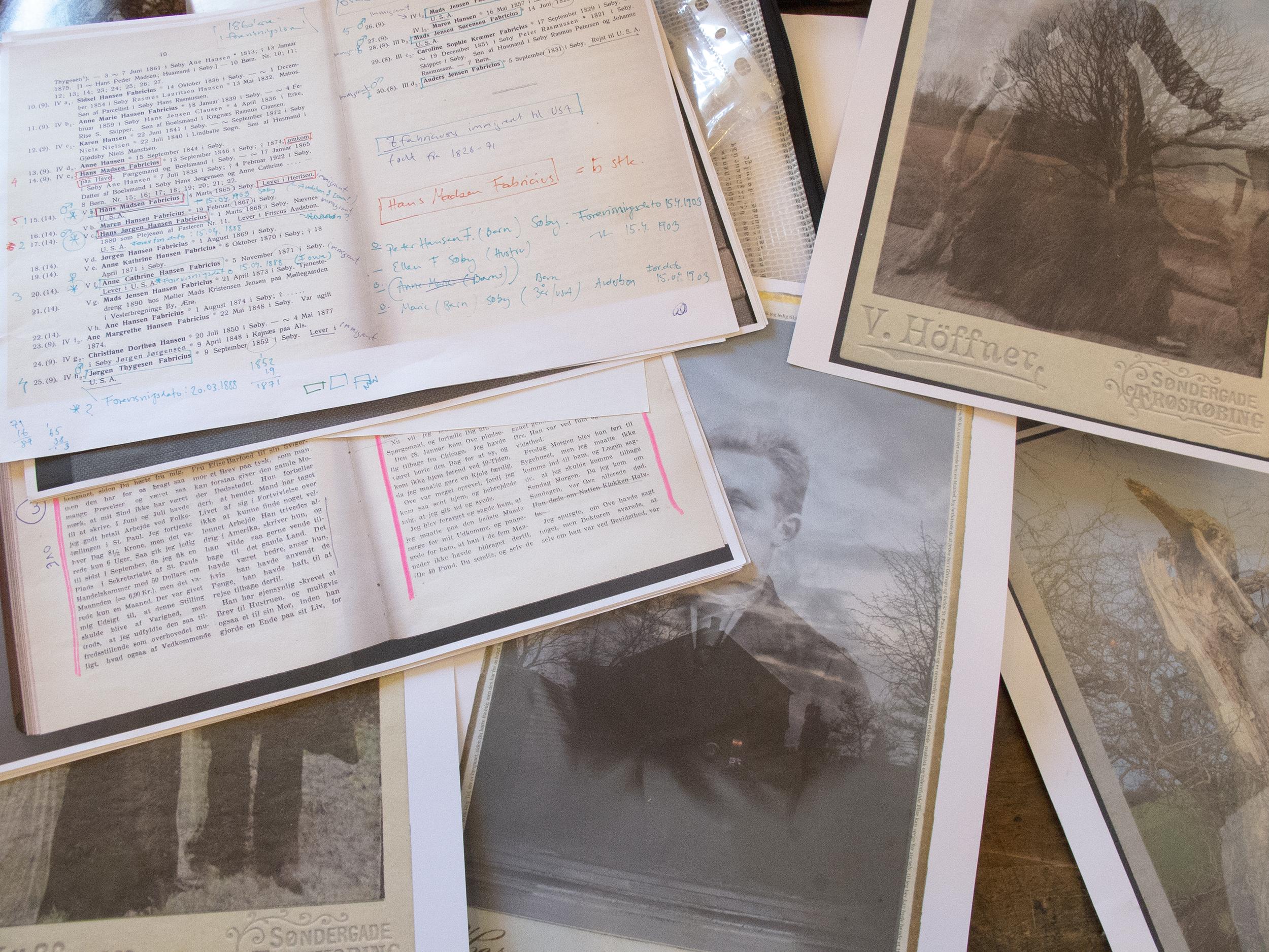 Slægtsforskning og testprint af fotografiske værker
