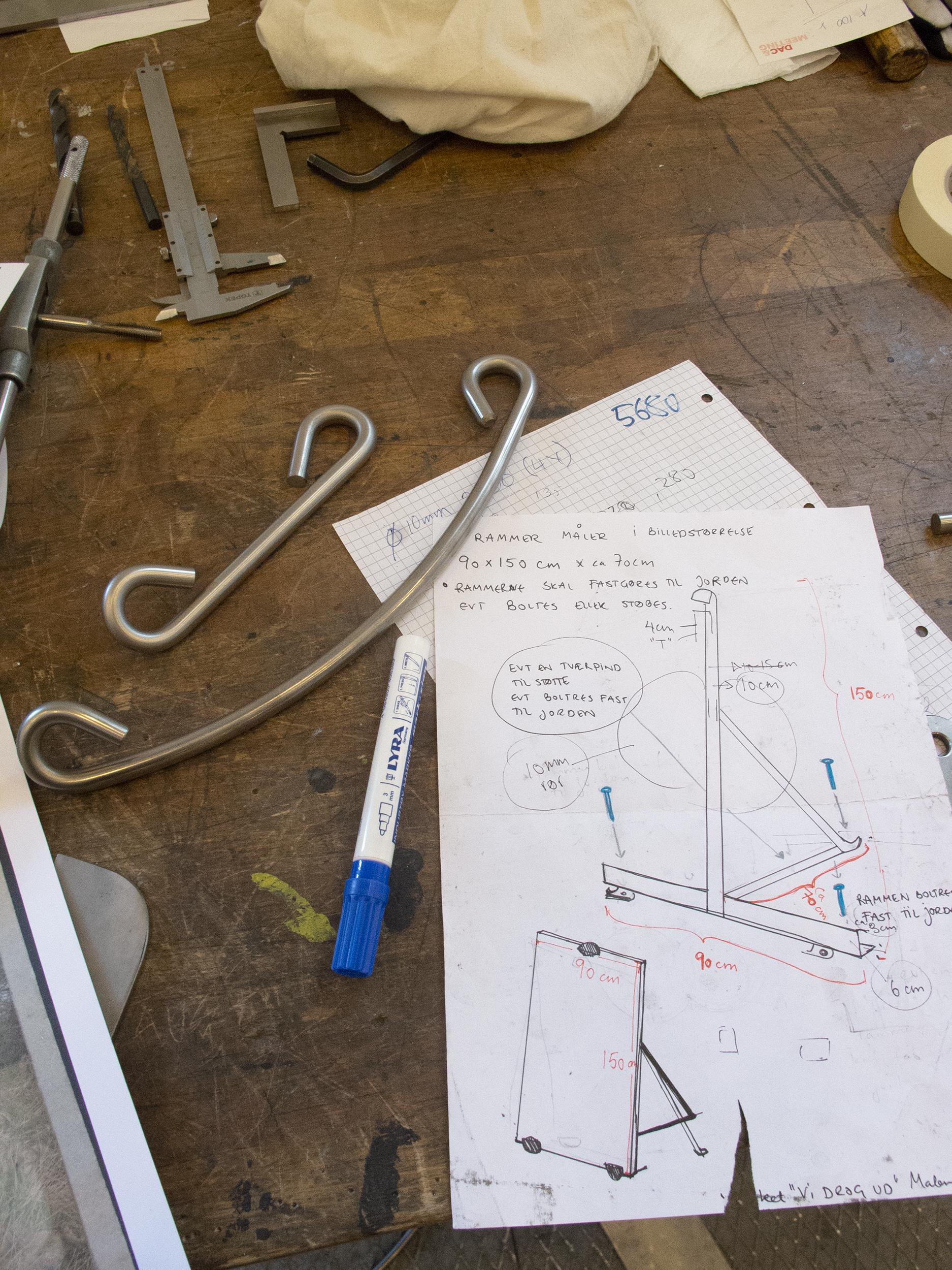 Arbejdstegning og dele til fotorammekonstruktion