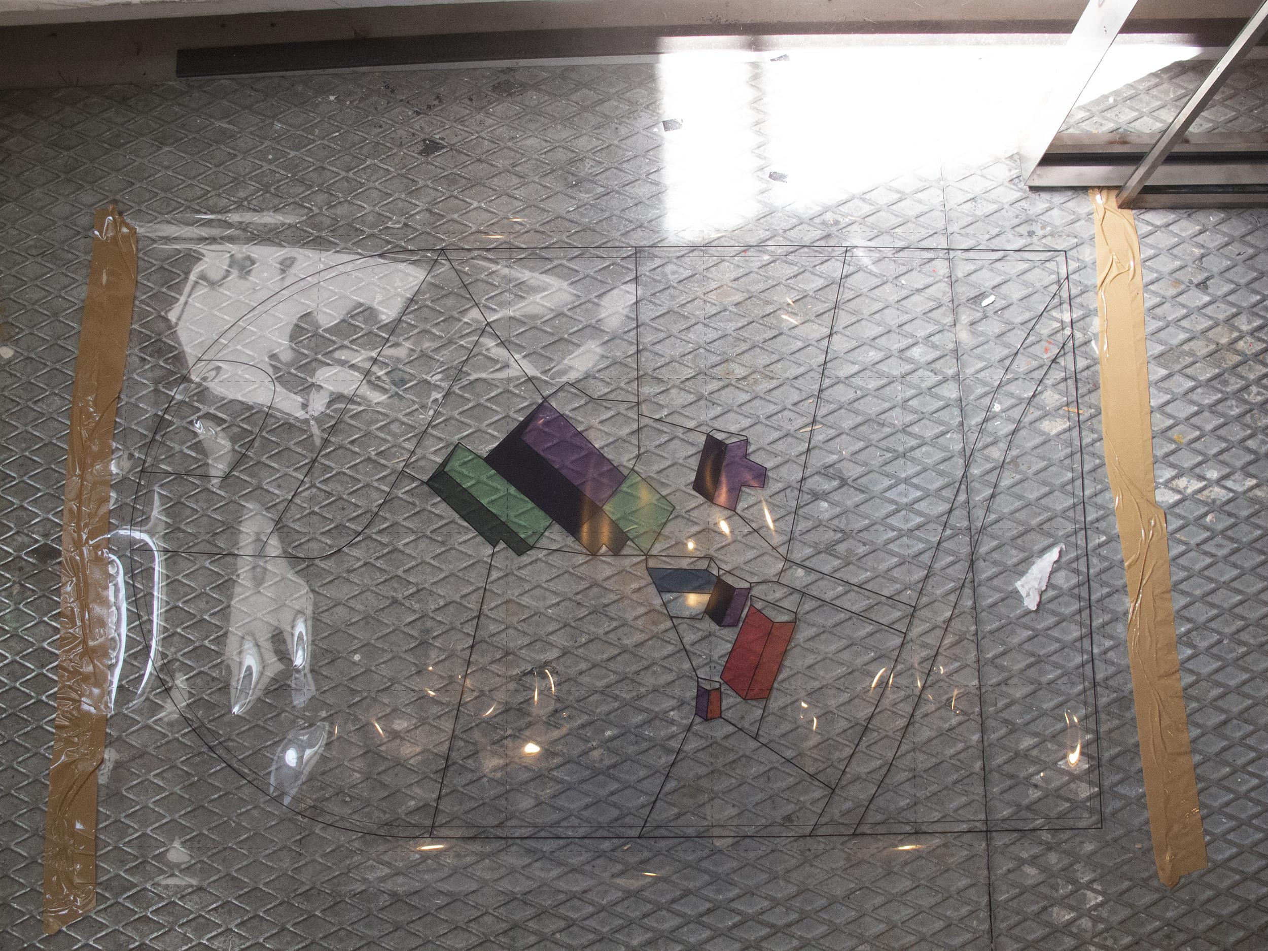 Arbejdstegning til stålramme med glasmosaik